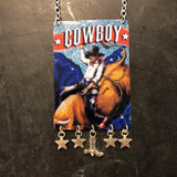 Bull Rider with Stars Tin Necklace