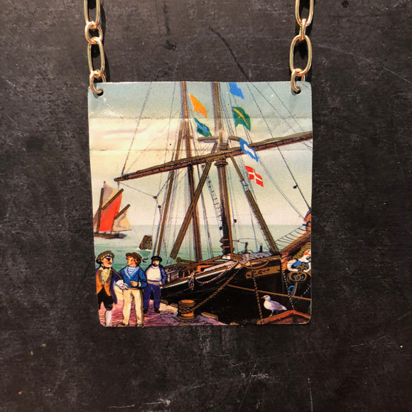 Large Tall Ship Tin Necklace