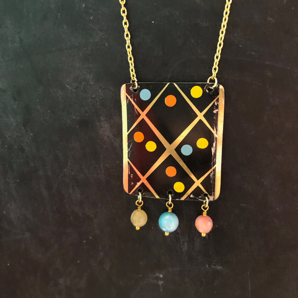 Black and Gold with Dots Tin Necklace