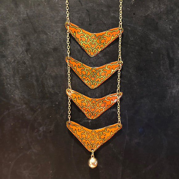Coral and Gold Ladder Style Tin Necklace with Bead