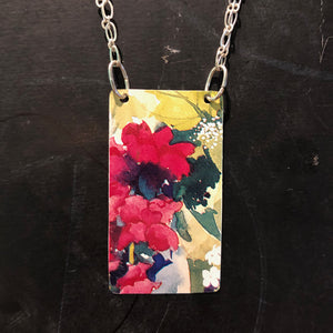 Watercolor Red Floral Tin Necklace