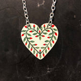 Red and Green Floral Heart Tin Necklace
