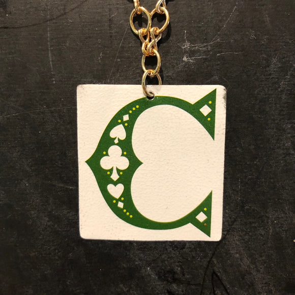 Green Club C Tin Necklace