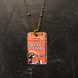 Steaks and Chops Tin Necklace