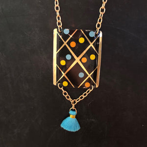 Midcentury Modern Dots Tin Necklace with Tassel