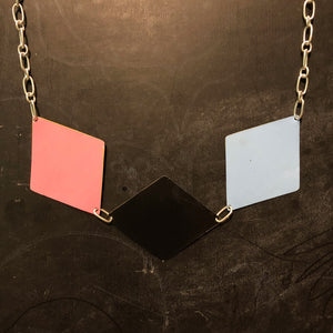 Three Diamonds Tin Necklace