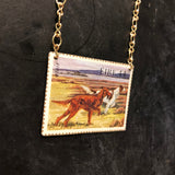 Irish Setter Stamp Tin Necklace