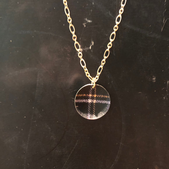 Domed Plaid Tin  Necklace
