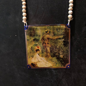 Renoir with Blue Beaded Tin Necklace