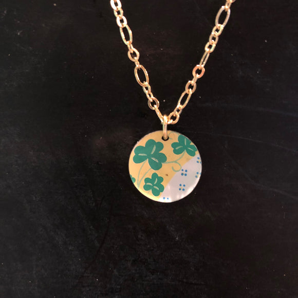 Tiny Domed Shamrock on Gold Holiday Necklace