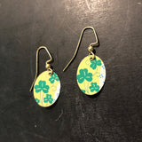Small Oval Shamrocks on Gold Tin Earrings