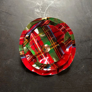 Red Plaid Brooch