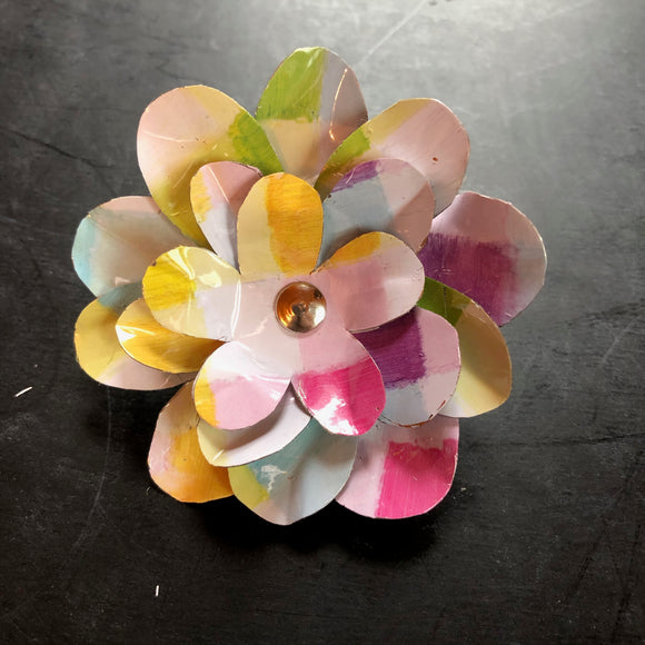 Large Pastel Checkered Flower Brooch