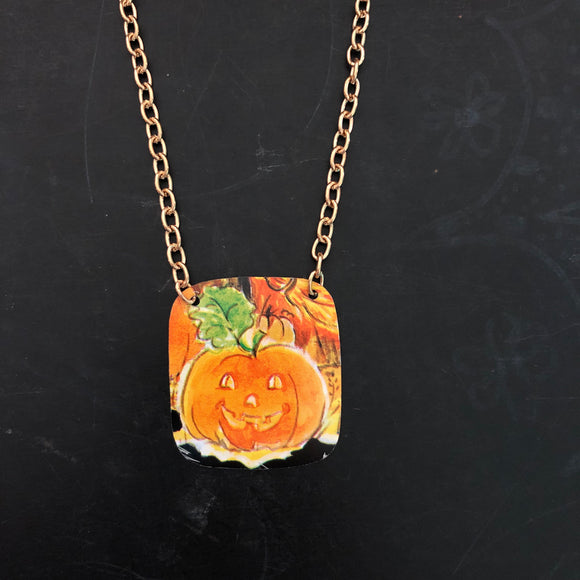 Sweet Pumpkin Tin Necklace