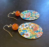 Multicolored Floral Oval Tin Earrings with Adventurite Bead