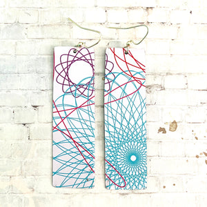 Spirograph Rectangle Tin Earrings