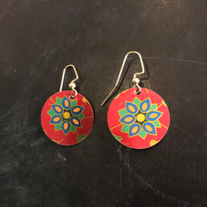Red Floral Circle Tin Earrings