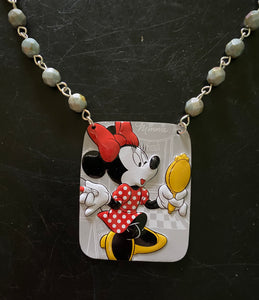 Minnie Mouse in Mirror Tin Necklace with Beads