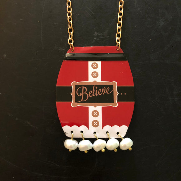 Freshwater Pearl Believe Tin Necklace