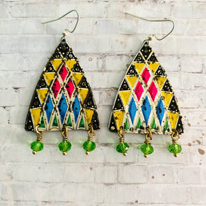 Stained Glass Style Tin Earrings with Beads