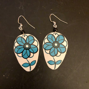 Blue and Black Flower Tin Earrings with Bead