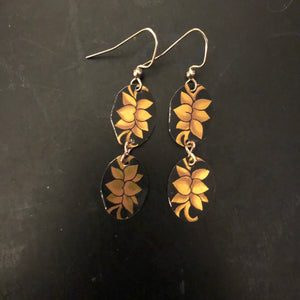 Tiered Gold Floral on Black Tin Earrings