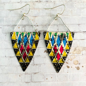 Stained Glass Style Triangle Tin Earrings
