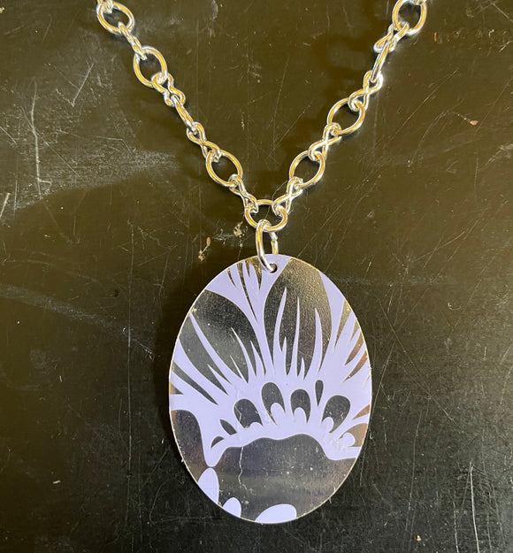 Lavender and Silver Floral Tin Necklace