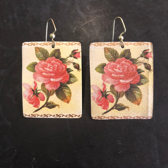 Pink Roses Rectangle Tin Earrings