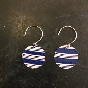 Navy and White Stripe Circles Tin Earrings