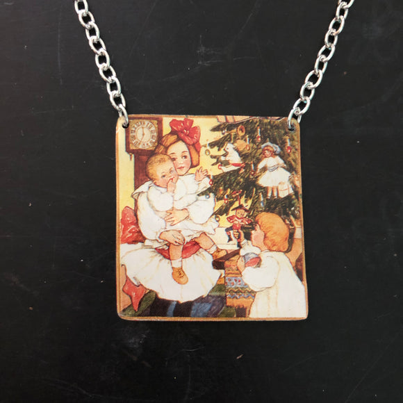 Christmas Morning Tin Necklace