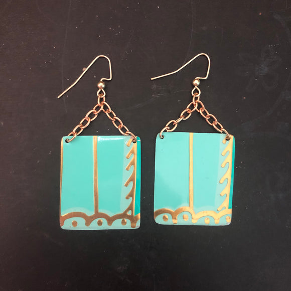 Teal and Gold Square Tin Earrings