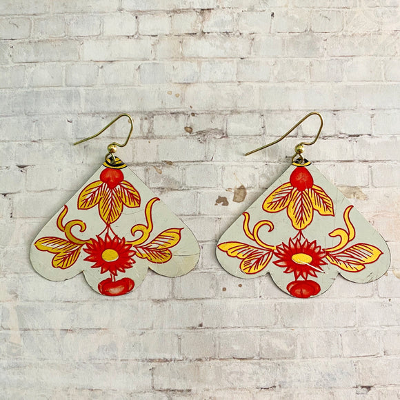 Coral and Gold Floral Fan Tin Earrings