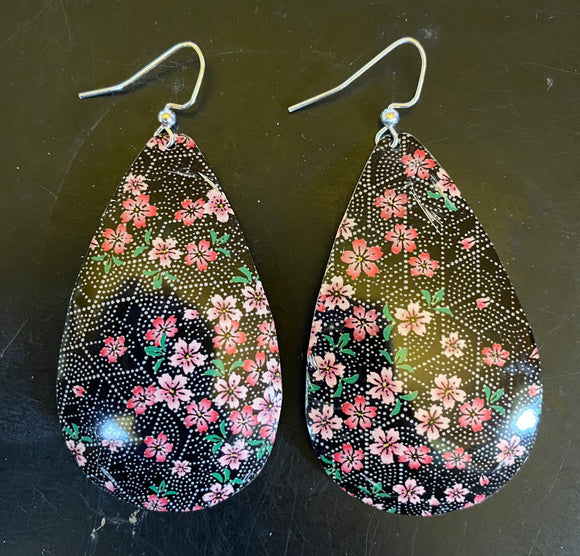 Black with Pink Floral Tin Earrings