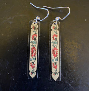 Slim Rectangles of Red Floral Tin Earrings