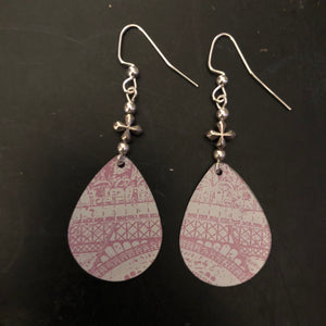 Pink and White Arch Tin Earrings with Bead
