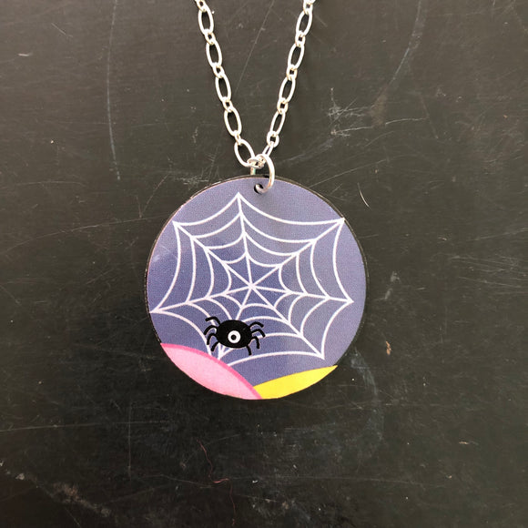 Spiderweb Circle Tin Necklace