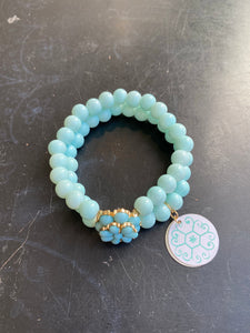Double Strand Light Blue Glass Beads with Gold Tin Charm Bracelet