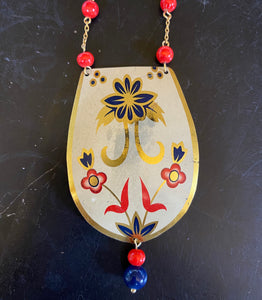 Navy and Red Floral Tin Necklace