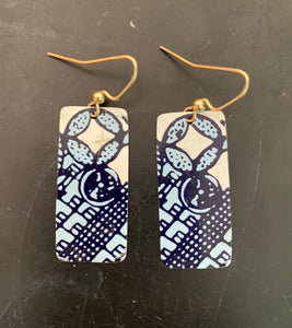 Royal and Navy Geometric Rectangle Tin Earrings