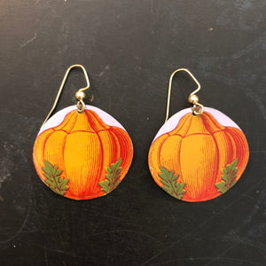 Round Pumpkin Tin Earrings