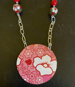 Red and Pink Floral Tin Necklace