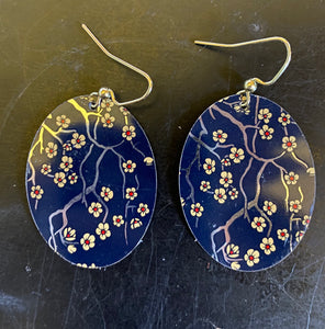 Cherry Blossoms on Midnight Blue Tin Earrings