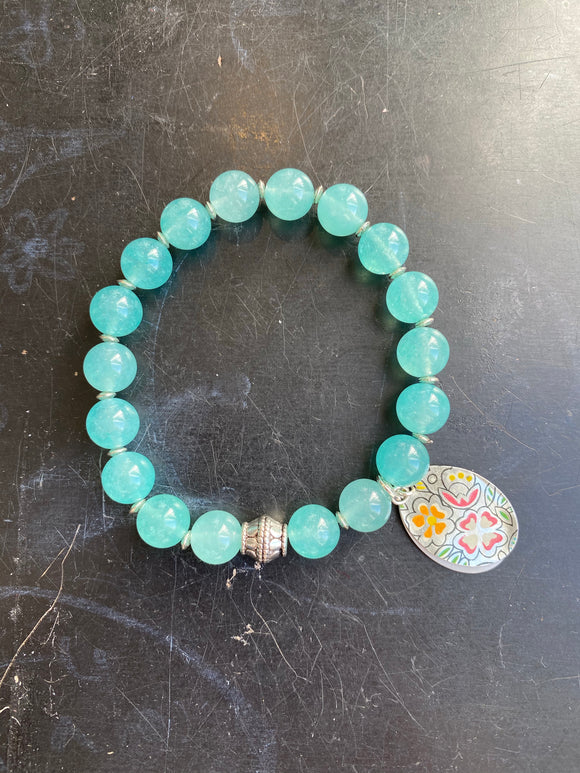 Aqua Glass Bead with Silver Bead and Floral Tin Charm Bracelet