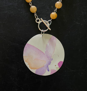 Pastel Butterfly Tin Necklace with Aventurite Beads