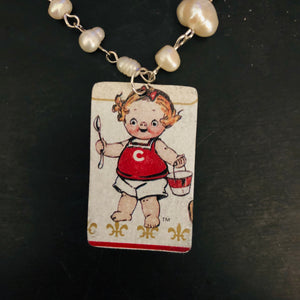 Campbell's Soup Cutie Tin Necklace with Freshwater Pearls