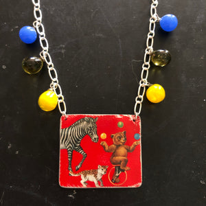 Distressed Red Animal Cracker Tin Necklace