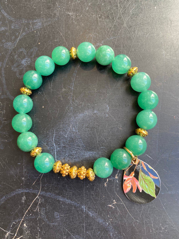 Jade and Gold Tin Charm Bracelet