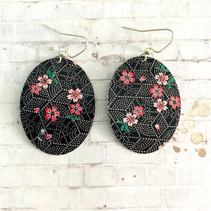 Black and  White Hexagon with Pink Cherry Blossom Tin Earrings