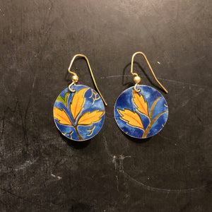 Circle Navy and Orange Floral Tin Earrings